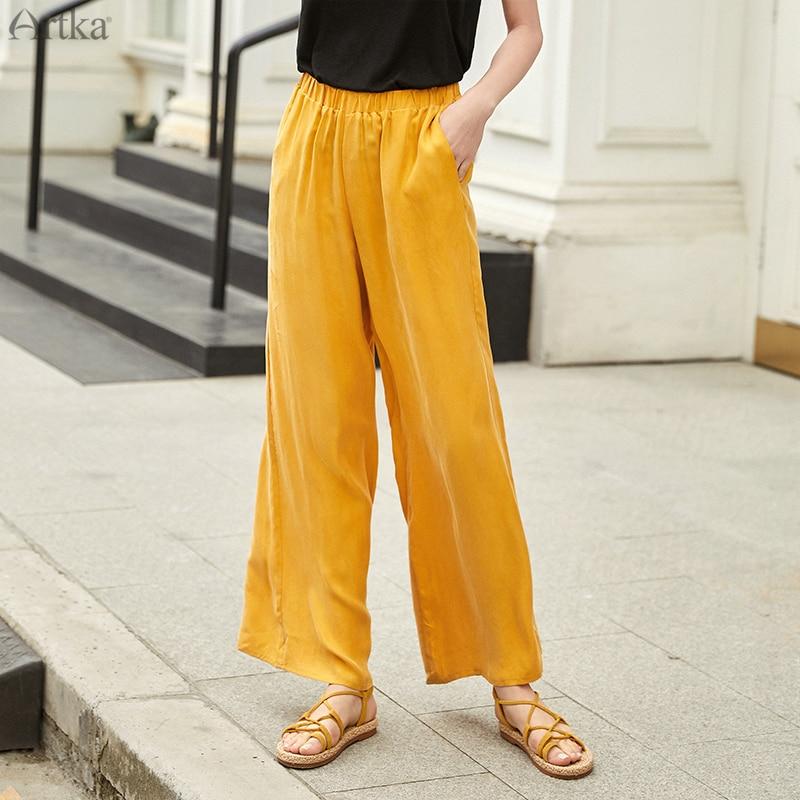 ARTKA 2019 Summer Women's   Pants   Casual   Wide     Leg     Pants   Elastic Waist Long Trousers For Women Solid Color Loose   Pants   KA10595X