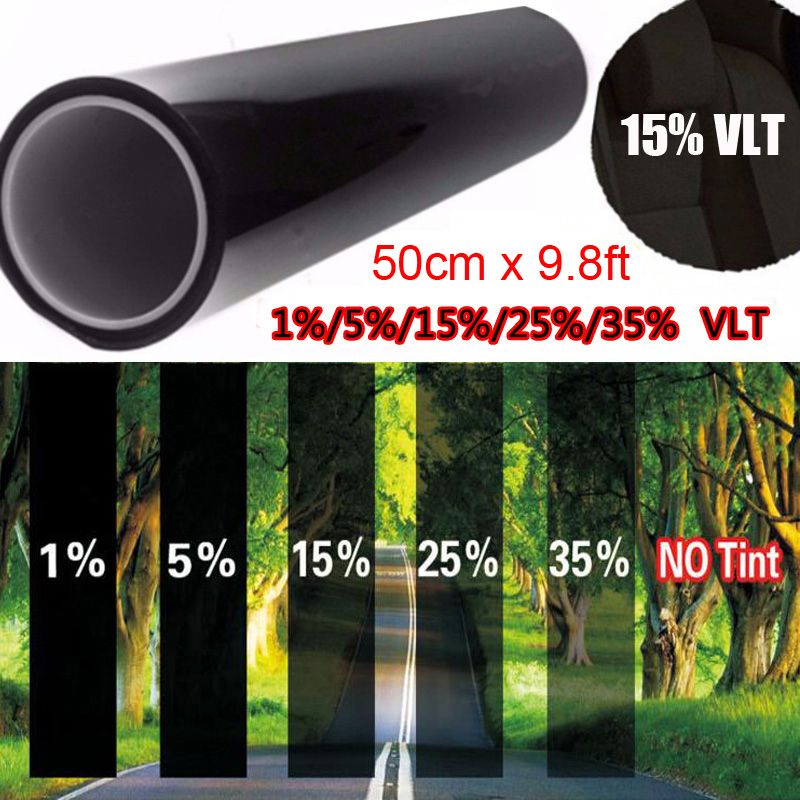 Pet 50*300cm Car 15% Vlt Tint Film Black Window Glass Sunproof Sticker Protect