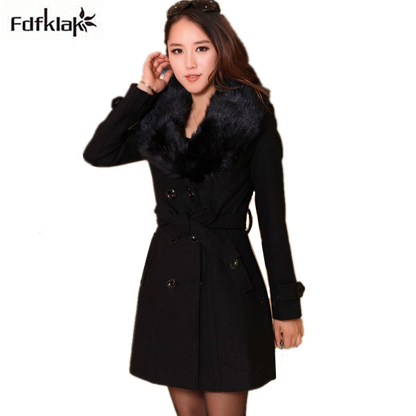 30c6296b8 manteau femme 2019 fashion brand long wool women's coat plus size winter coats  women ladies thick fur collar jackets M-5XL Q414
