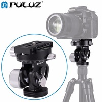 PULUZ 2 Way Pan/Tilt Tripod Head Panoramic Bird Watching Photography Head w/Quick Release Plate 3 Bubble Level Carry Bag