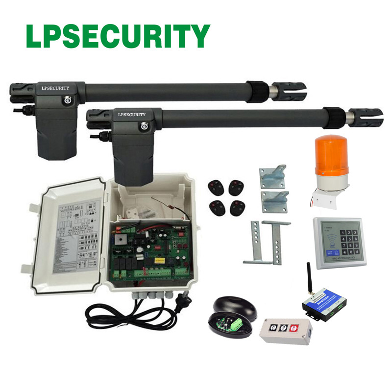 220V AC Heavy Duty Worm Gear Automatic Swing Gate Opener 400KG per leaf(photocells,lamp,button,keypad,gms operator optional)-in Access Control Kits from Security & Protection