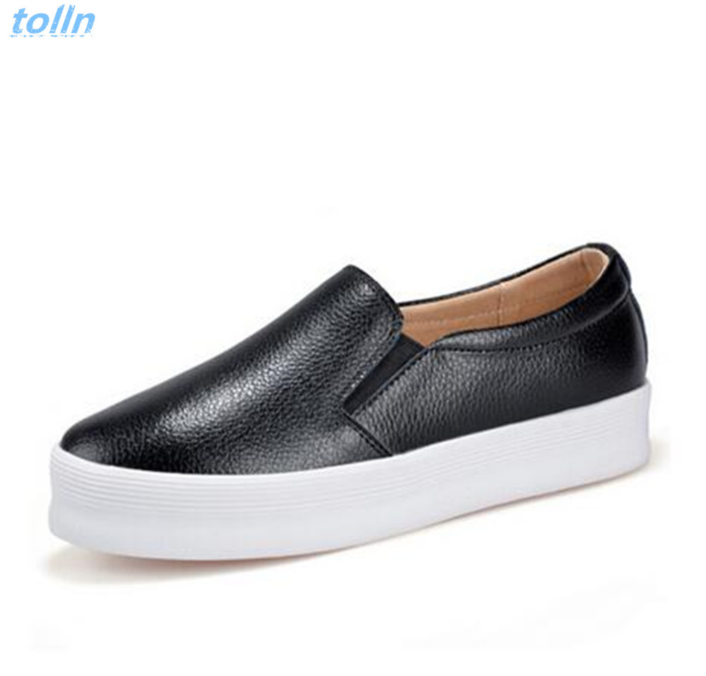2017 Genuine leather Platform Loafers Slip On Ballet Flats Shoes Woman Comfortable Creepers Casual Women Flat Comfortable Shoes  qmn women genuine leather flats women horsehair loafers retro square toe slip on flat platform shoes woman creepers 34 42
