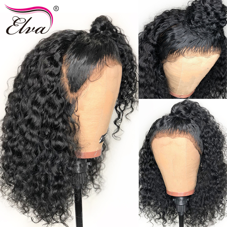 Curly Lace Front Wig 150% Density Brazilian Remy Human Hair Wigs For Women With Baby Hair 13x6 Deep Parting Wig Pre Plucked Elva