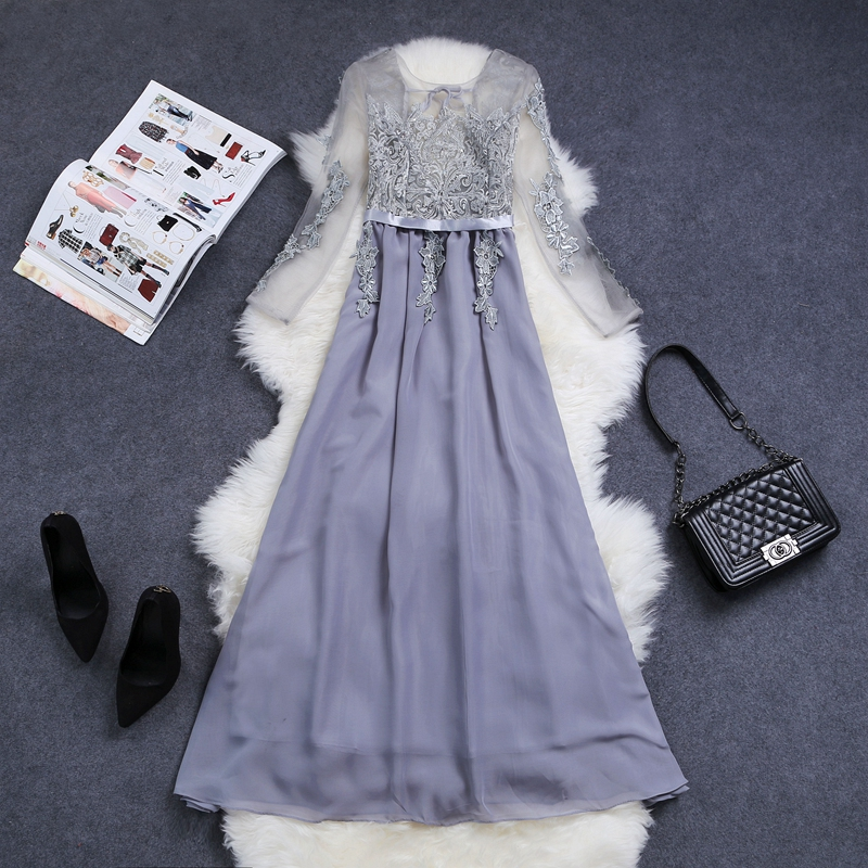 yomrzl A319 New arrival spring and autumn women s dresses sweet embroidery one piece royal long