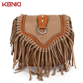 KEENICI Popular Bohemian Ethnic Style Lady Small Tassel Bag Girl Messenger Bag Female Faux Suede Bag Retro Matte Shoulder Bag