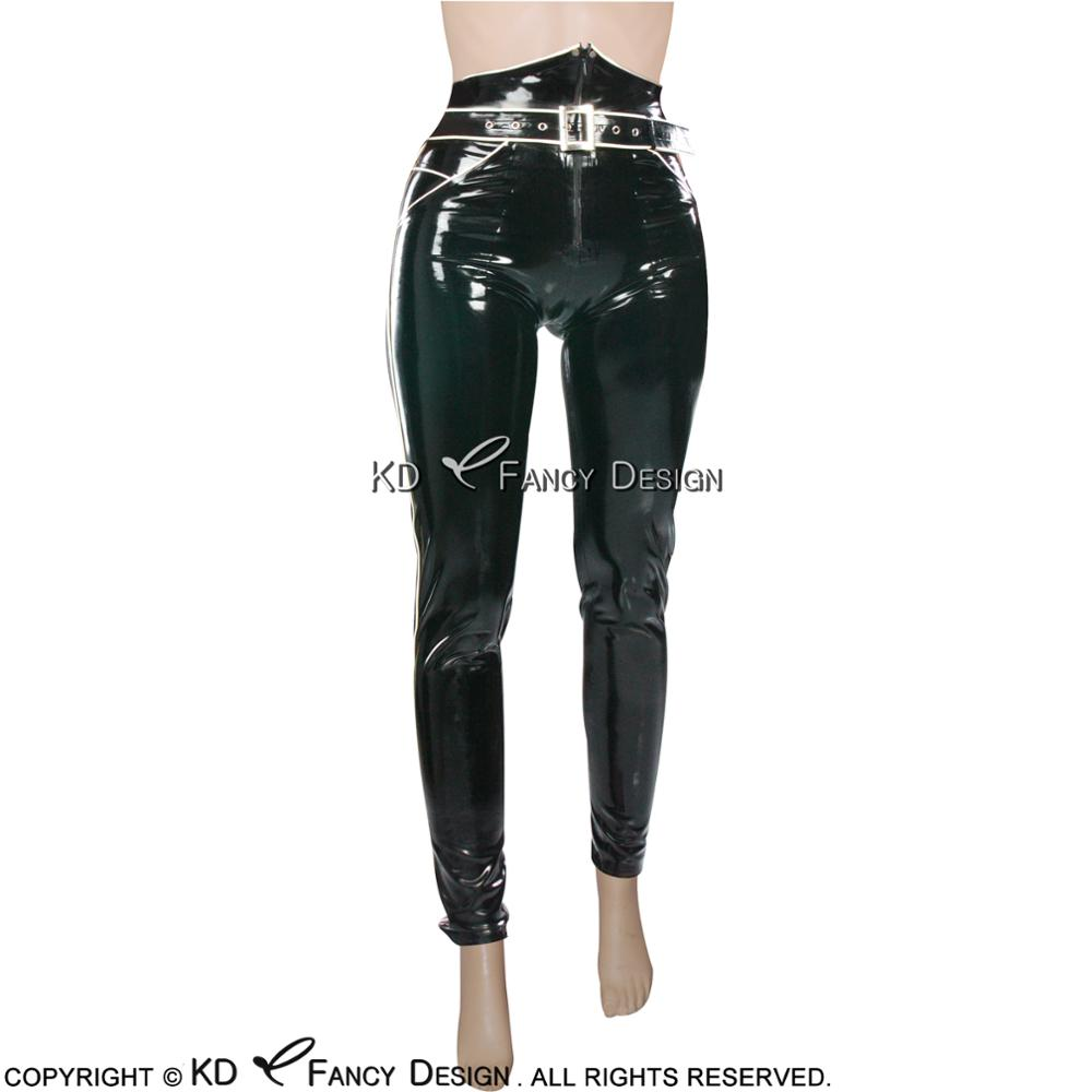 Black With White Sexy Latex Leggings With Zipper Front And Pockets Rubber Pants Jeans Trousers Bottoms CK 0025