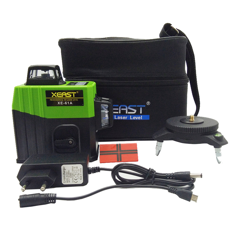 Xeast XE-61A 12 Lines 3D green Laser Level 360 Self-Leveling Horizontal Vertical Cross laser nivel Laser Beam Line level laser xeast xe 17a new 3d red laser level 8 lines tilt mode self leveling meter 360 degree rotary cross red beam