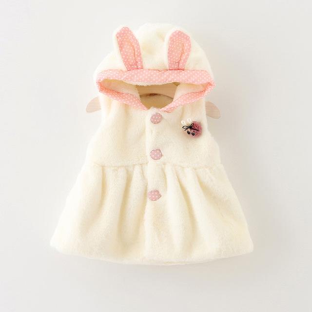 Varejo/atacado orelhas de coelho com capuz colete jaqueta de inverno recém-nascidos das Crianças do bebê colete 2016 novo colete para as meninas do bebê roupas