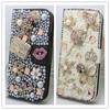 Luxury Bling Crystal Diamonds Pearls PU Leather Flip Slots Atand Wallet Case Cover For Samsung Galaxy S3 S4 S5 S6 S7 LG G4 G5
