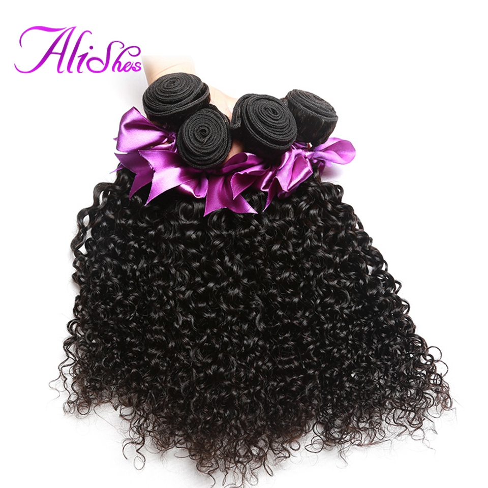 Alishes Hair 4PCS LOT Malaysian Curly Hair Bundles Non Remy Hair Weave 100 Human Hair Bundles