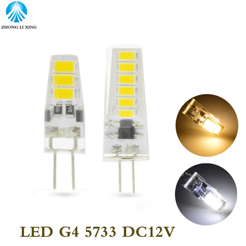 10pcs/lot G4 Mini Led Bulb DC12V 6leds SMD5733 LED Corn Bulb White/warm White With Silicon Body Indoor Led Bulb