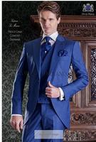 2017 Последние Пальто Пант дизайн итальянский Королевский синий смокинг мужской костюм Slim Fit 3 предмета Блейзер на заказ Пром Стиль Костюмы