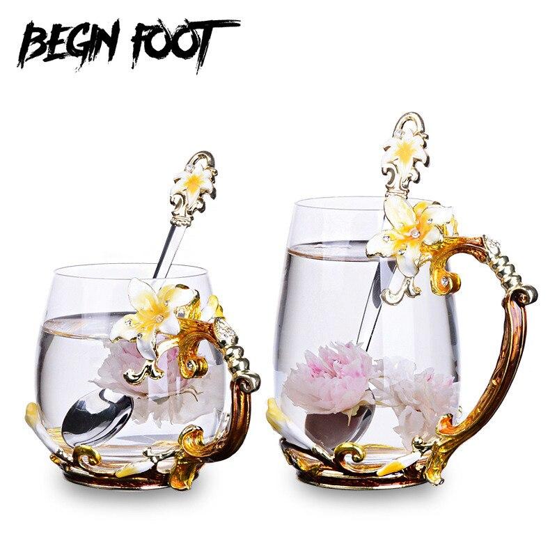 Palace sculpture diamant classique émail couleur thé tasse fleur tasse ronde écologique tasses verres Vaso vin verre Copo cadeau