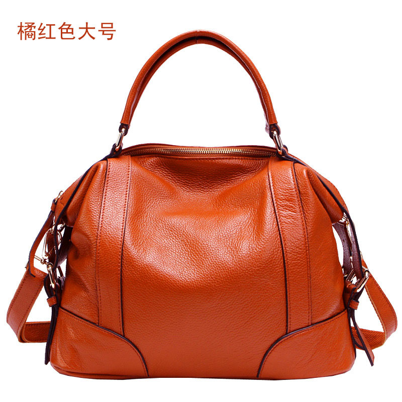 Genuine Cow Leather Women's Boston Bag 2017 New European  Handbag Solid Color Cowhide Women Messenger Bag sac a main