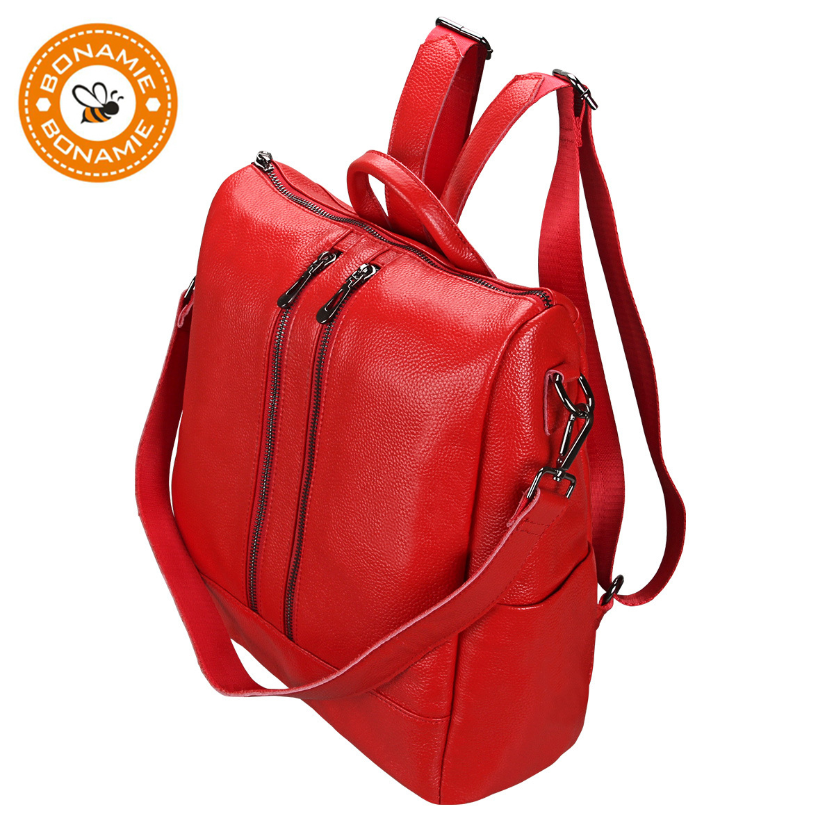 BONAMIE Genuine Leather Luxury Red Womens Backpack Bag Female Ladies Mochila Shoulder Bags Fashion School Backpack For GirlsBONAMIE Genuine Leather Luxury Red Womens Backpack Bag Female Ladies Mochila Shoulder Bags Fashion School Backpack For Girls