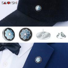 SAVOYSHI Blue/Black Enamel Flower shape man Lapel Pin Brooches Pins Fine Gift for Men Brooches Collar Party Engagement Jewelry