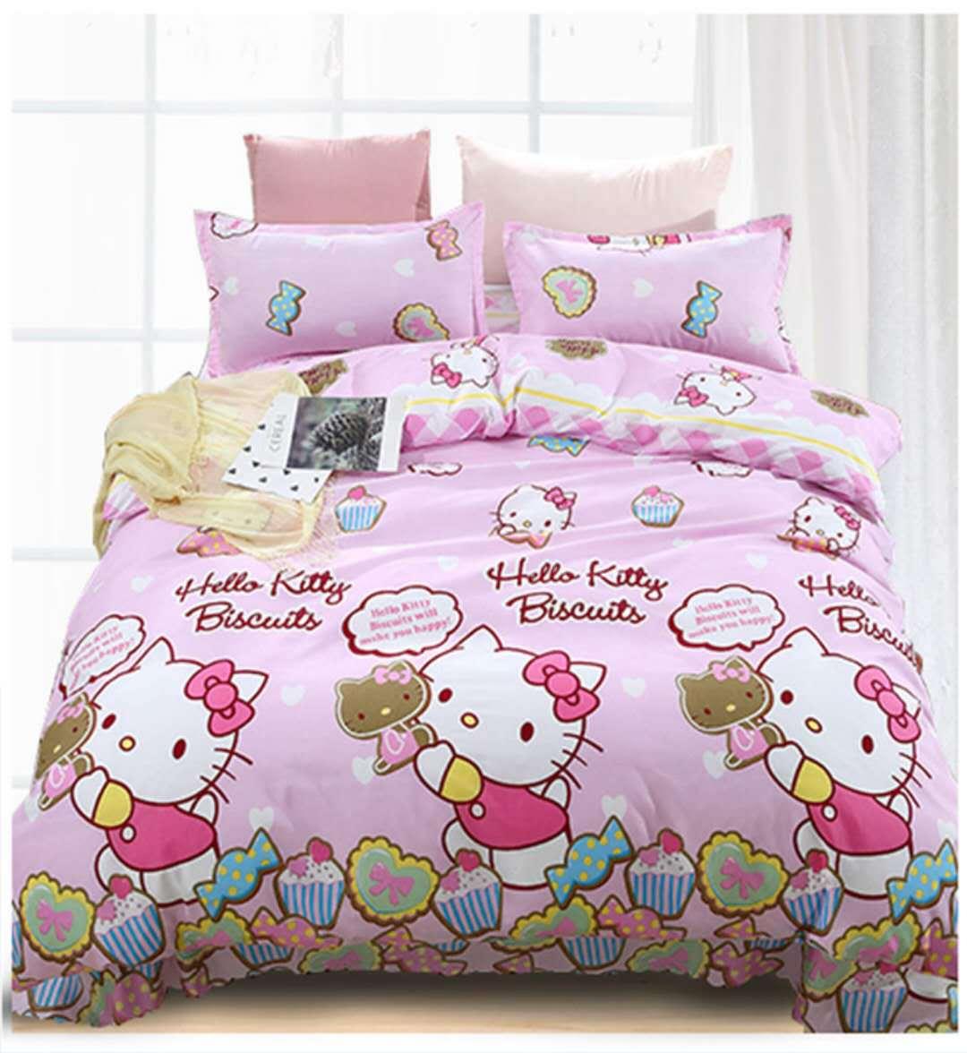 Bedding Set Cartoon Happy Cat Flamingo Rabbit Scenery 4/3pcs Duvet Cover Sets Soft Polyester Flat Bed Sheet Set Pillowcase