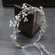 bride tiaras headband manual  bead beaded white flowers wedding accessories hair band headdress jewelryH010