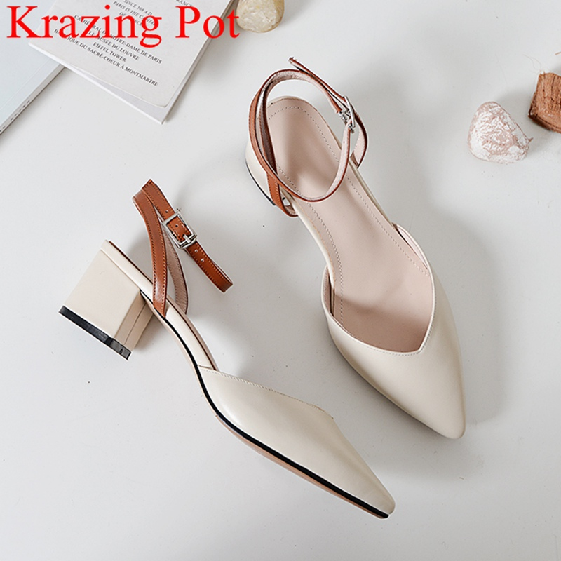 2019 superstar office lady cow leather square heel women sandals pointed toe shallow sweet elegant buckle