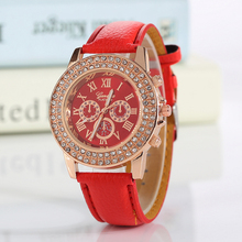цена New Fashion Ladies Quartz Wristwatch, Double Rhinestone, Casual Luminous Watch Women, Leather Strap Clock Gift Relogio Feminino онлайн в 2017 году
