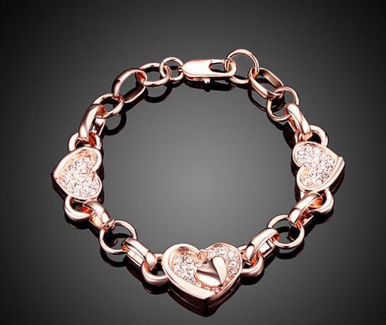 YKD20   Pure Silver 925 Rose Zircon Bracelet Three Womens Heart Bracelets YKD20   Pure Silver 925 Rose Zircon Bracelet Three Womens Heart Bracelets