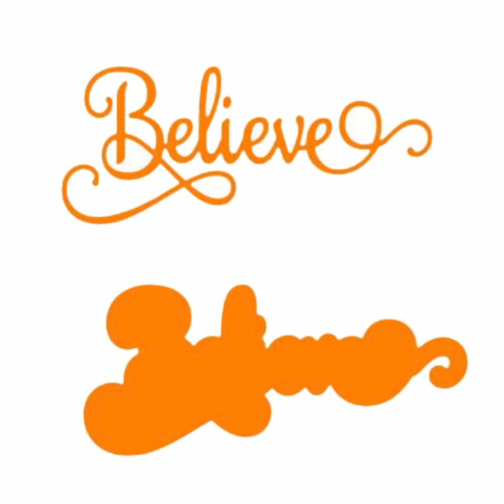 Believe Words Greeting Cards Made Metal Cutting Dies Stencils For