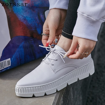2019 Women Flat Platform Sneakers Shoes Ladies Genuine Leather Thick bottom Casual Shoes Lace up Flats Pointed shoes creepers