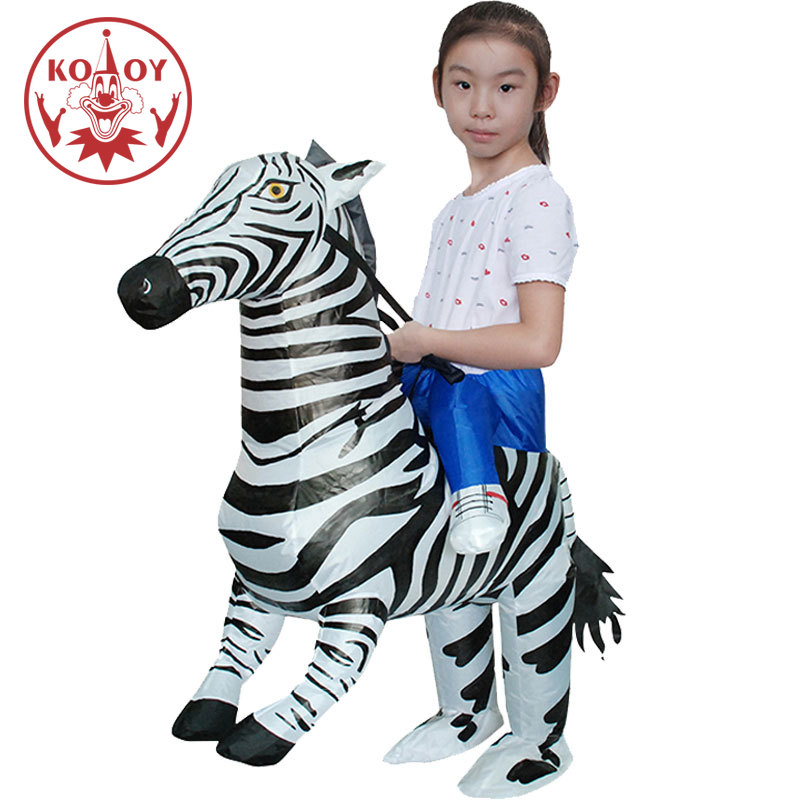 Kids Boys Inflatable Zebra Costume Halloween Animal Cosplay Girls Walking Fancy Dress Airblown Up Christmas Mascot