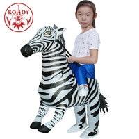 Kids Boys Inflatable Zebra Costume Halloween Animal Cosplay Girls Walking Fancy Dress Airblown Up Christmas Mascot