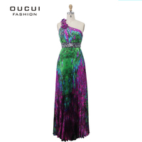 Real Photos Printing Fabirc Beading And Pleat 100 Handwork One Shoulder Celebrity Evening Dresses OL101881 Free