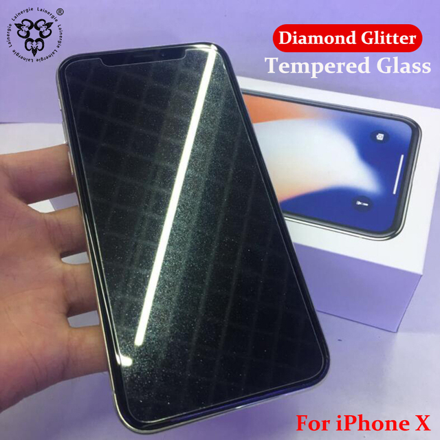 official photos aac8f 169a0 Lainergie For iPhone X Diamond Glitter Tempered Glass Screen Protector For  iPhone X Explosion Proof Film Glass For iPhone X-in Phone Screen Protectors  ...