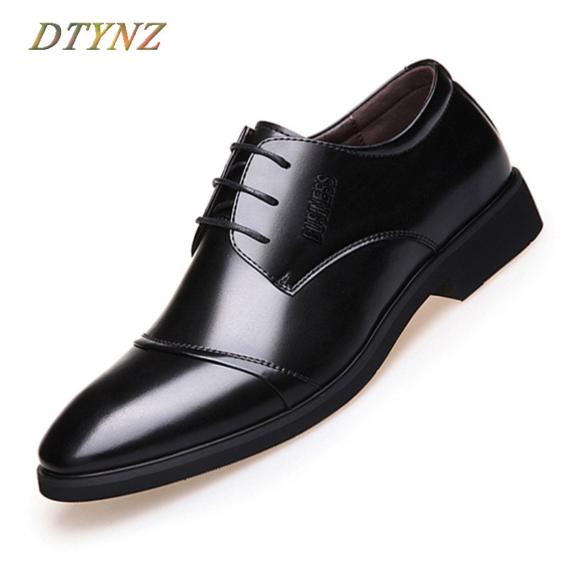 DTYNZ Men Dress Shoes Formal Official Leather Shoes For Men Business 2018 New Autumn Lace-Up Flat Breathable Oxfords Pointed Toe okhotcn male pointed toe cow leather shoes daily plaid men casual business dress shoes oxfords men flat lace up sapato masculino