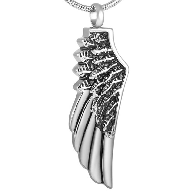 Angel Wing Urn Necklace: Angel Wing Cremation Urn Pendant Necklace Unisex Stainless