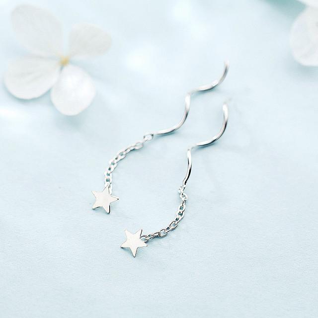 INZATT Hot Sale Authentic 925 Sterling Silver Dangle Drop Earrings Star Tassel Twist Stick Bar For Elegant Women Fine Jewelry