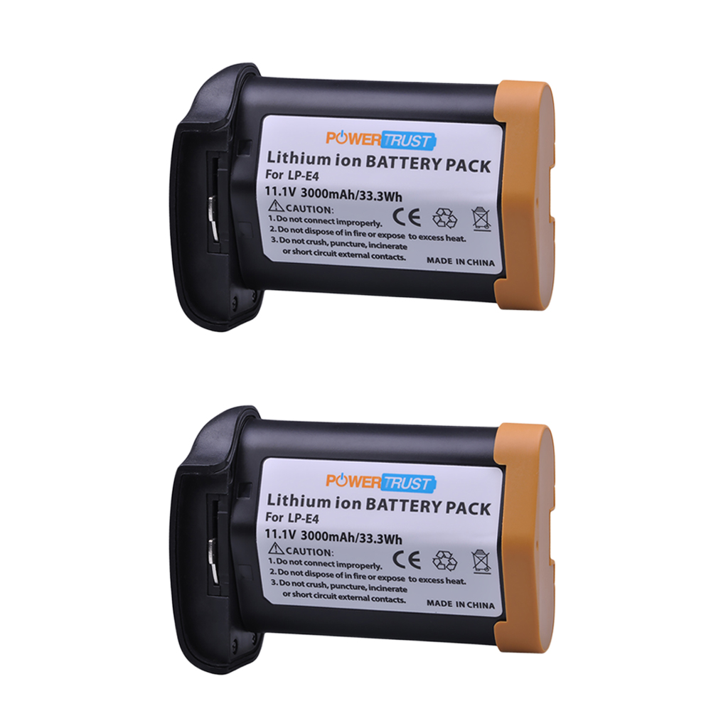 PowerTrust 2x 3000mAh LP-E4 LPE4 Rechargeable Battery for Canon EOS 1D Mark III EOS-1D Mark IV EOS 1Ds Mark III EOS 1D C EOS1DX eos 10