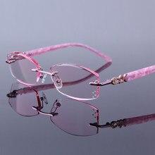 Luxo Mulheres Óculos De Leitura De Alta Limpar Lentes Óculos Para  Presbiopia Hipermetropia Óculos Sem Aro Strass Rosa das Mulher. ffd92d394b
