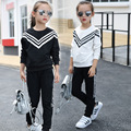 Girls Sport Suit Cotton Clothes Sets 2017 Autumn Children Tracksuit Long Sleeve Striped Sweatshirt+Pants 4 6 8 10 12 14 16 years