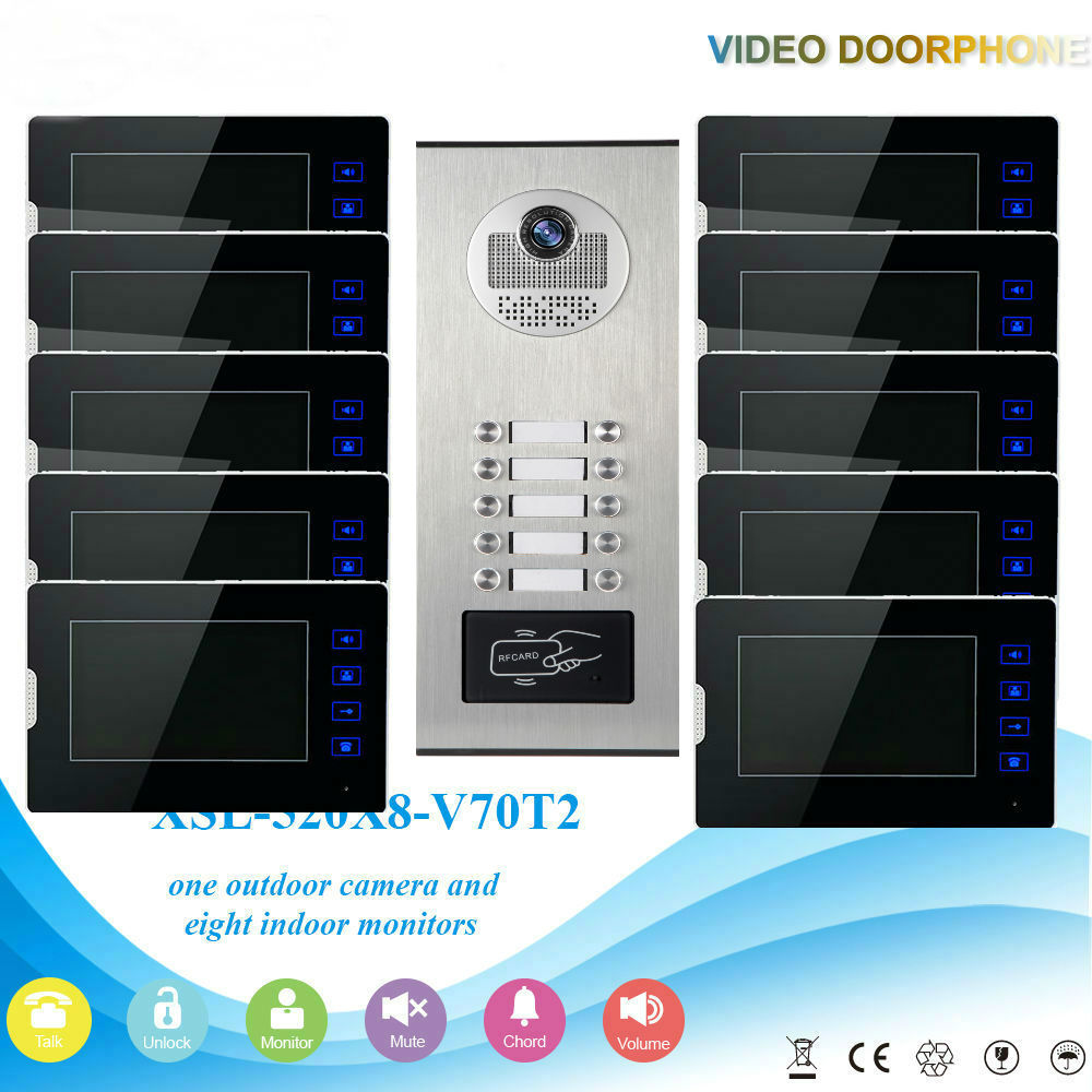 SmartYIBA 7inch Home/House Doorphone Monitors For 2-12 Apartments Multi Units Video Intercom System Door Camera With RFID Card