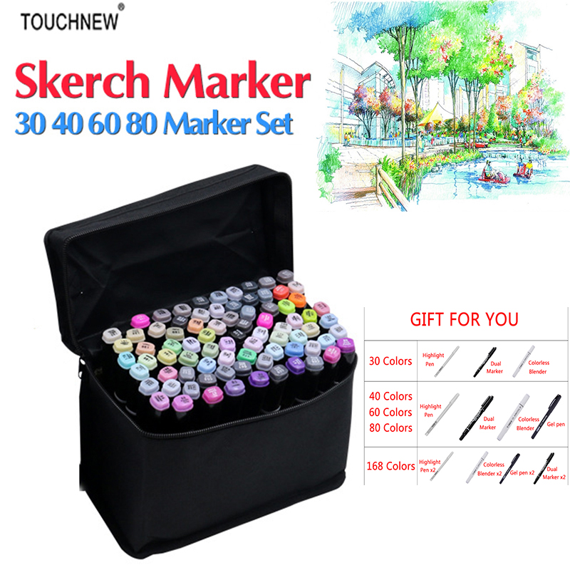 Touchnew 168 Colors Artist Painting Art Marker Alcohol Based Sketch Marker For Drawing Manga Design Art Set Supplies Designer touchnew 7th 30 40 60 80 colors artist dual head art marker set sketch marker pen for designers drawing manga art supplie