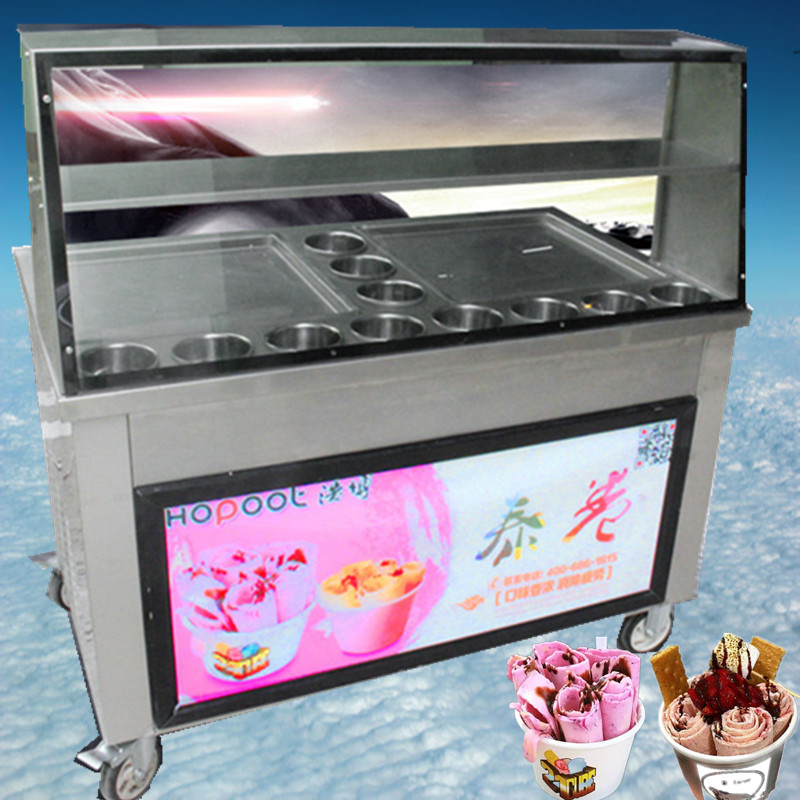 Newest fried ice cream roll machine with energy saving lamp,double pan11 buckets double Hitachi compressor Fried ice pan machine 2016 newest led lighting double pan 6cooling buckets fried ice cream roll machine fried ice pan machine r22 frying ice machine