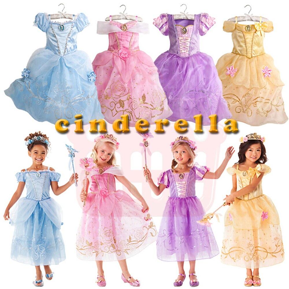 Nuevo verano Niñas flor Elsa vestido para Niñas Rapunzel vestido de ...