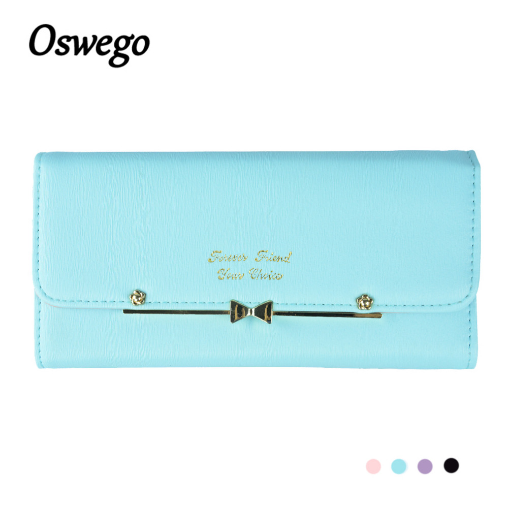 Korean Style Women Wallet Ladies Purse Clutch Large Capacity Metal Bow Hasp Pouch Female Long Money Card Holder Bag billetera fuzzy metal clutch wallet