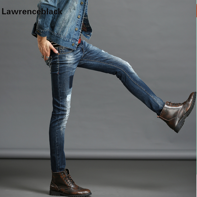 Ripped Skinny Jeans Men Stretch Hole Jean Cool Jean Slim Motorcycle Jeans Mens Casual Hip Hop Pants Elastic Denim Trousers 228 2017 ripped straight jeans men slim fit zipper jeans men s hole denim fabric hip hop skinny cotton white blick pants casual mens