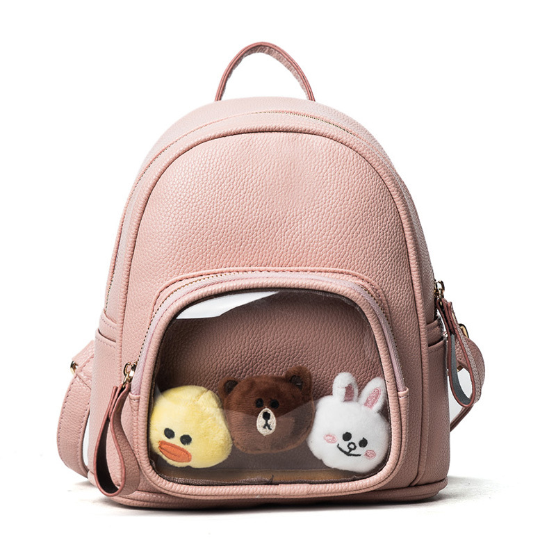 Women backpack High Quality Pu Leather Backpacks Transparent Itabag Lovely Ita bag with three cute doll