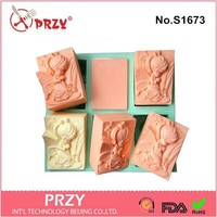 PRZY Wholesales 6 Hole angel girls soap mold Silicone Cake pan Chocolate Soap Pudding Jelly Candy Ice Cookie Biscuit Mold
