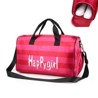 Pink Letters Sports Gym Bag Nylon Outdoor Waterproof Shoes Storage Bag Men Women For Fitness Shoulder