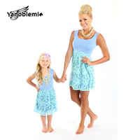 Matching Mother Daughter Clothes Summer Lace Sleeveless Dresses Baby Girls Cotton Solid Casual Dress Family Matching