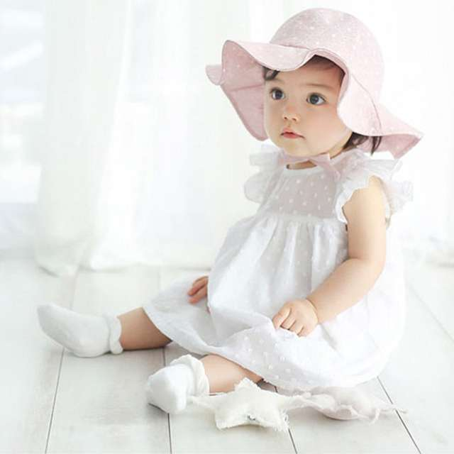 b5a020c68d7686 placeholder Infant Summer Outdoor Baby Girl Visor Cotton Sun Cap Floral  Print Pink White Beach Bucket Hats