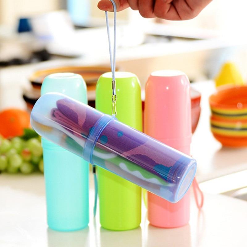Ceļojumu komplekts Zobu birstes kauss Uzglabāšanas kaste Mājas organizators Candy krāsu zobu pasta zobu suku dvieļu mazgāšanai Gargle Cup Travel