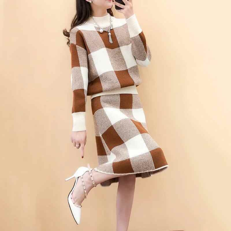 477e9356f5137 Autumn Winter Women Fashion New Long Sweater Skirts 2 Piece Suit Female  Casual Loose Plaid Patchwork